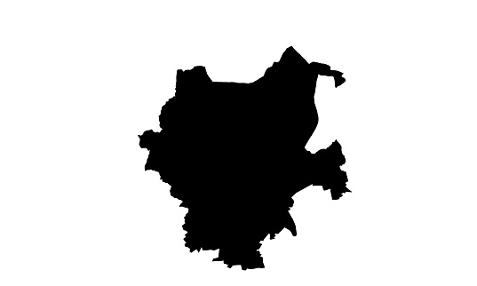 black silhouette map of the city of Monchengladbach in Germany