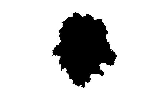 black silhouette map of the city of Munster in Germany