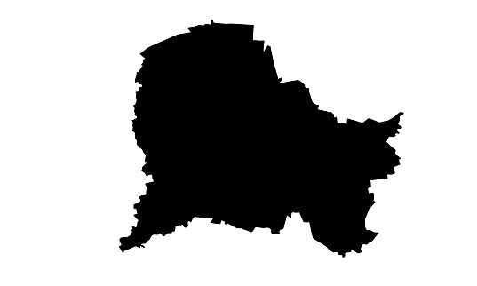 black silhouette map of the city of Paderborn in Germany