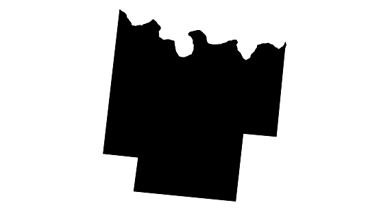 Black silhouette map of the city of Pontotoc in Mississippi