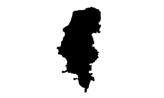 Black silhouette map of the city of Porto Alegre in Brazil