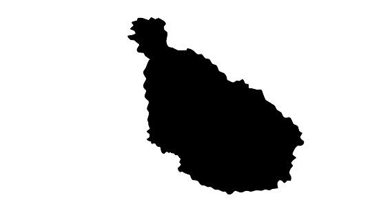 black silhouette map of the city of Santiago del Estero in Argentina