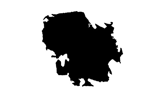 black silhouette map of the city of Sao Jose dos Campos in Brazil