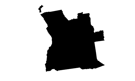black silhouette map of the country of Angola in central Africa