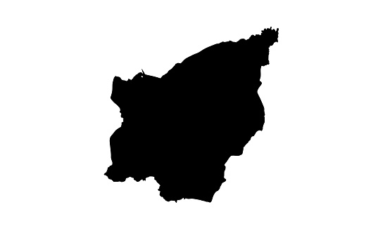 black silhouette map of the country of San Marino in Europe