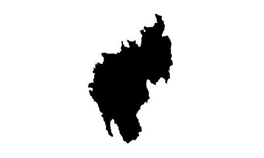 black silhouette map of the country of Tripura in India