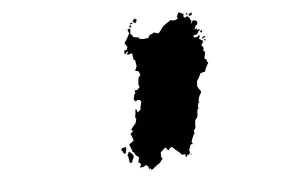 illustrazioni stock, clip art, cartoni animati e icone di tendenza di mappa della silhouette nera dell'isola di sardegna in italia - sardegna