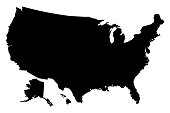 Black silhouette map of United States of America vector illustration