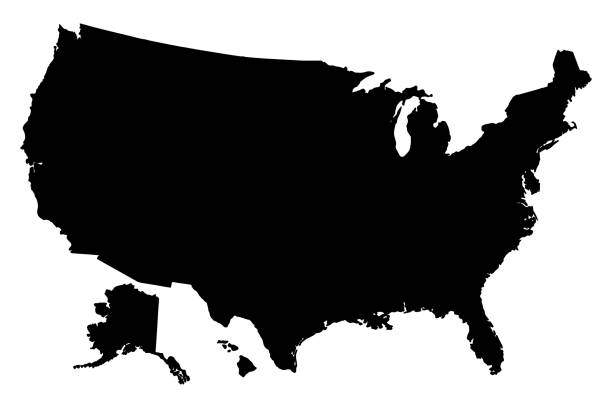 Black silhouette map of United States of America vector Black silhouette map of United States of America vector illustration america stock illustrations