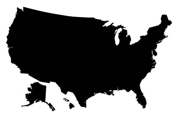 ilustraciones, imágenes clip art, dibujos animados e iconos de stock de mapa de silueta negra del vector de los estados unidos de américa - siluetas de mapas