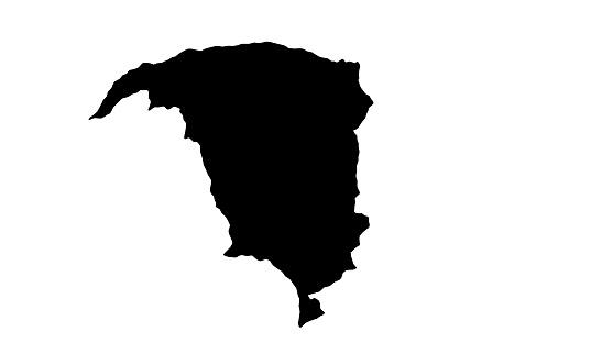 Black silhouette map of Yobe city in Nigeria