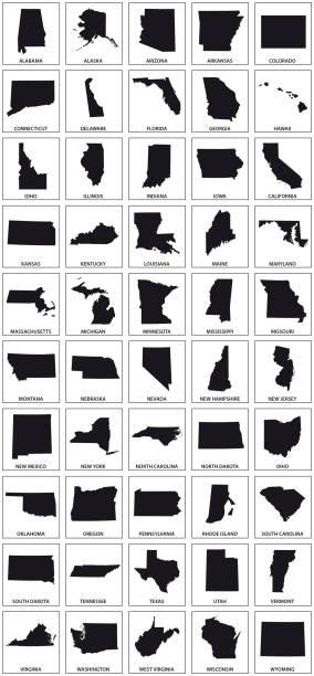 미국 50의 검은 실루엣 지도 - 지도 실루엣 stock illustrations