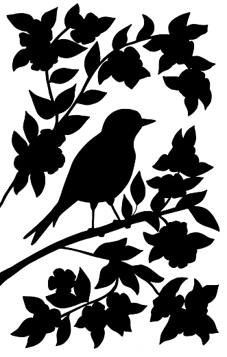 Black silhouette of a bird on a branch on a white background