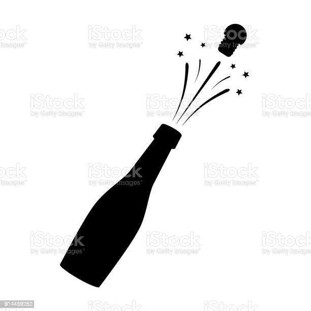 Black Silhouette Of A Champagne Bottle Iconography Vector Illustration Stock Illustration - Download Image Now