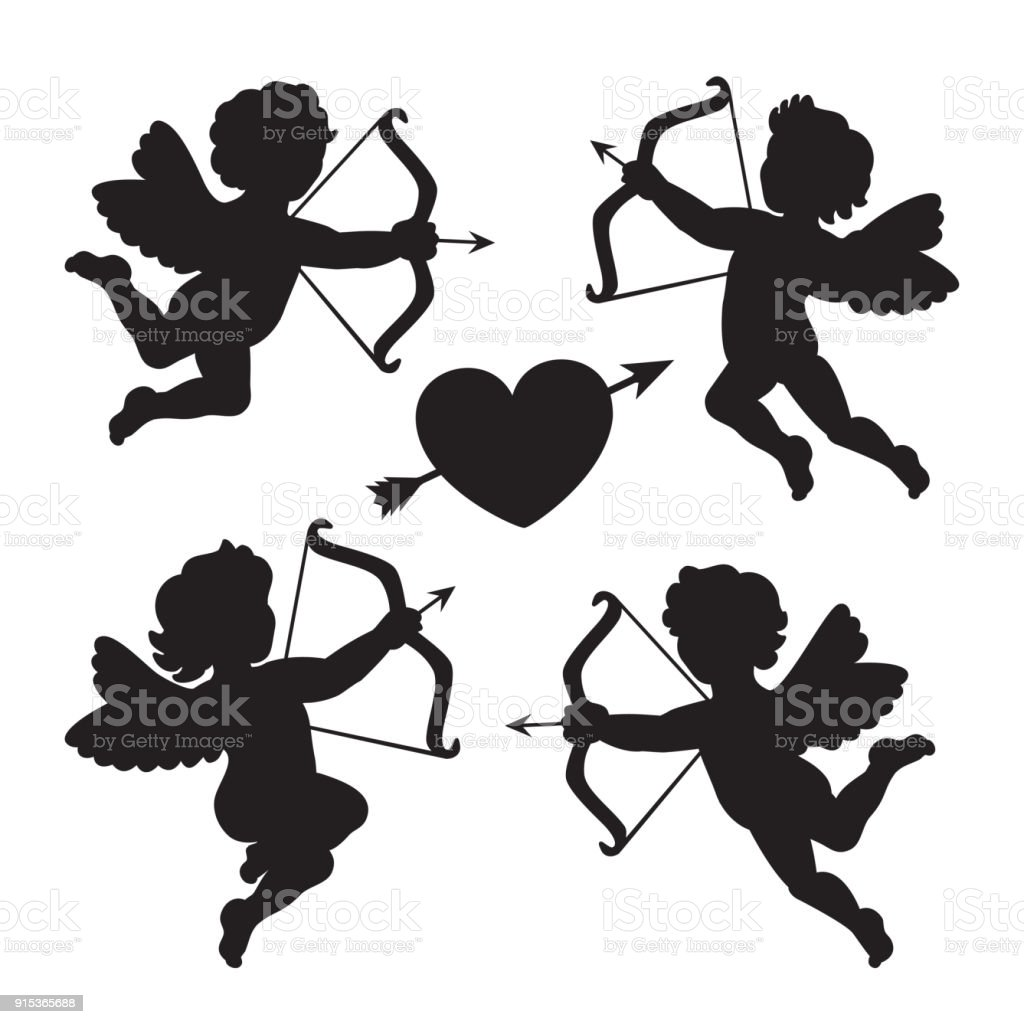 Black silhouette of a cupids. Design for Valentines day. Vector illustration.