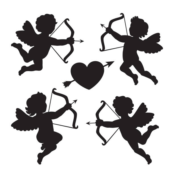 Black silhouette of a cupids. Design for Valentines day. Vector illustration. Black silhouette of a cupids. Design for Valentines day. Vector illustration sentimentality stock illustrations