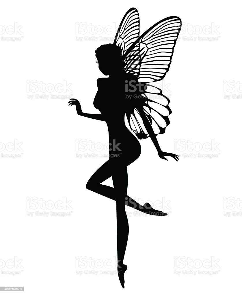 Black silhouette of a fairy on a white background vector art illustration
