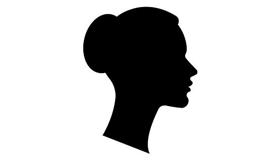 Black silhouette of a female face. Vector illustration