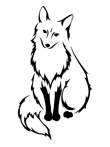 Black silhouette of a fox. Vector illustration.