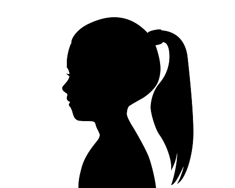Black silhouette of a girl's head. Child profile. Long hair pulled in a ponytail. Female silhouette. Drawing isolated on a white background. Vector stock illustration.