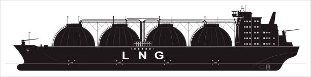 Black silhouette of a huge ocean tanker for liquefied gas. Traced details. Side view. vector art illustration
