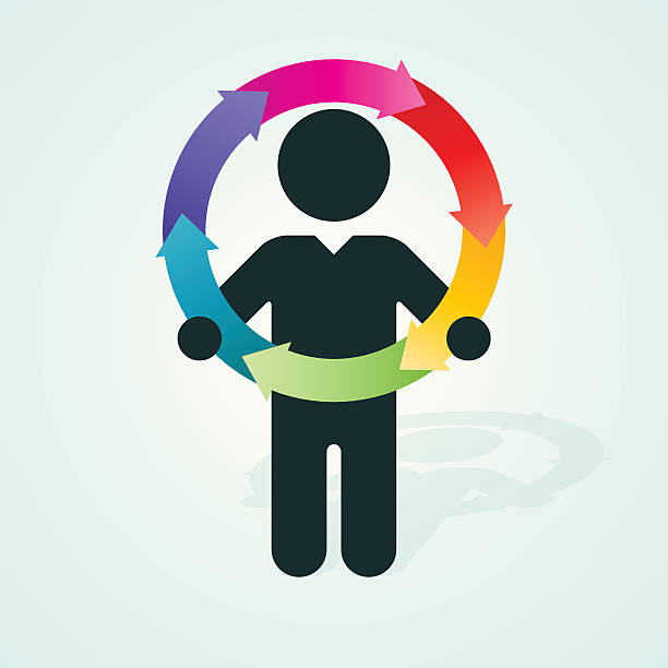 black silhouette of a man holds color wheel of arrows vector art illustration