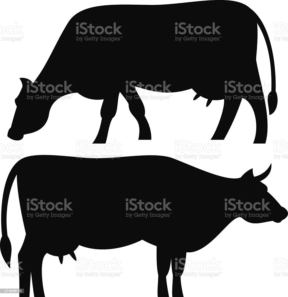 A black silhouette of a milk cow grazing vector art illustration