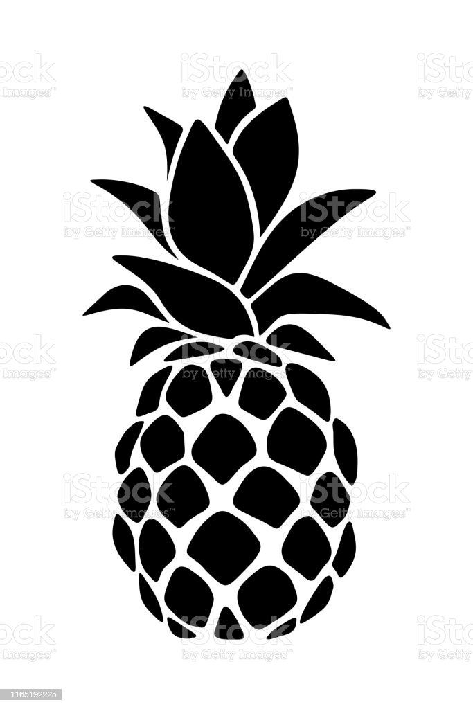 Black Silhouette Of A Pineapple Vector Illustration Stock ...
