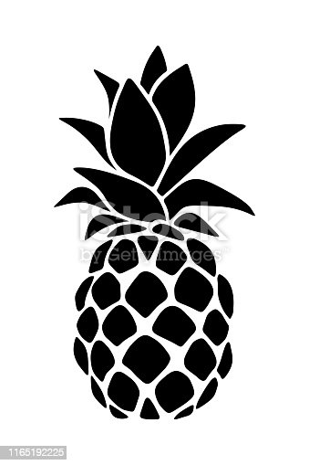 Vector black silhouette of a pineapple isolated on a white background.