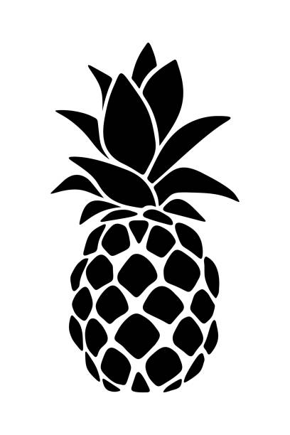 Black silhouette of a pineapple. Vector illustration. Vector black silhouette of a pineapple isolated on a white background. fruit clipart stock illustrations