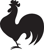 Black silhouette of a rooster standing on one leg