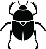 Black silhouette of a scarab beetle. Vector illustration.