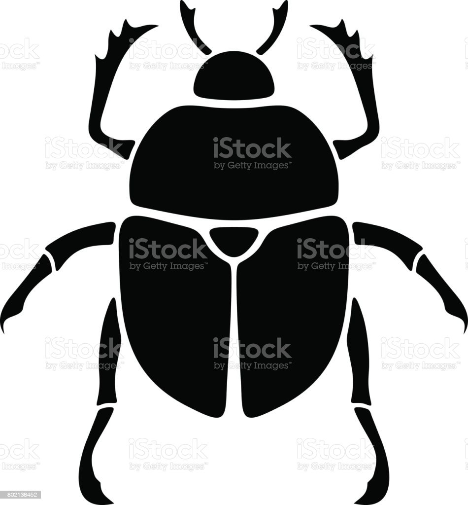 Black silhouette of a scarab beetle. Vector illustration. vector art illustration