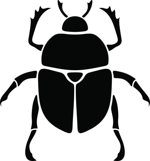 Schwarze Silhouette ein Skarabäus-Käfer. Vektor-Illustration. – Vektorgrafik