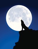 Black Silhouette of a Wolf Howling at a Full Moon