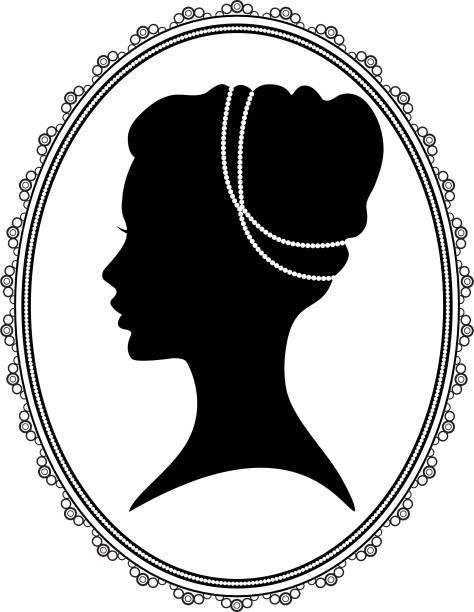 ilustrações de stock, clip art, desenhos animados e ícones de black silhouette of a woman in oval frame - porta retrato