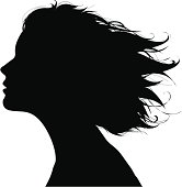 Profile of a girl with a long hair.