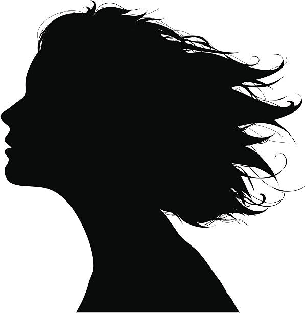 Black silhouette of a woman's facial profile in the wind vector art illustration