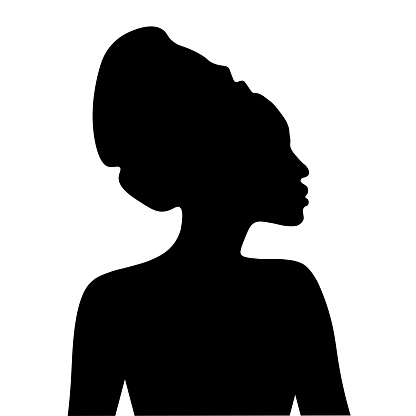Black silhouette of African woman in headdress. Portrait in profile  Vector EPS10 illustration.