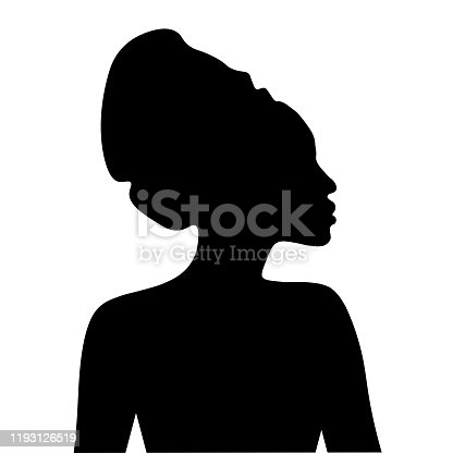 Black silhouette of African woman in headdress. Portrait in profile  Vector EPS10 illustration