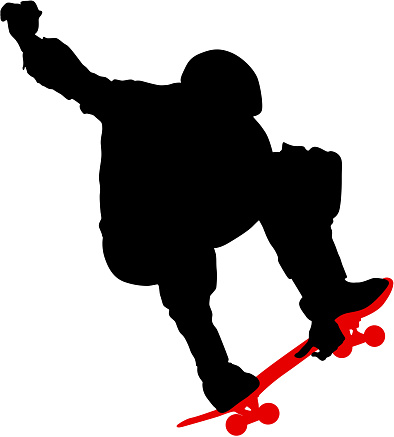 Black silhouette of an athlete skateboarder in a jump
