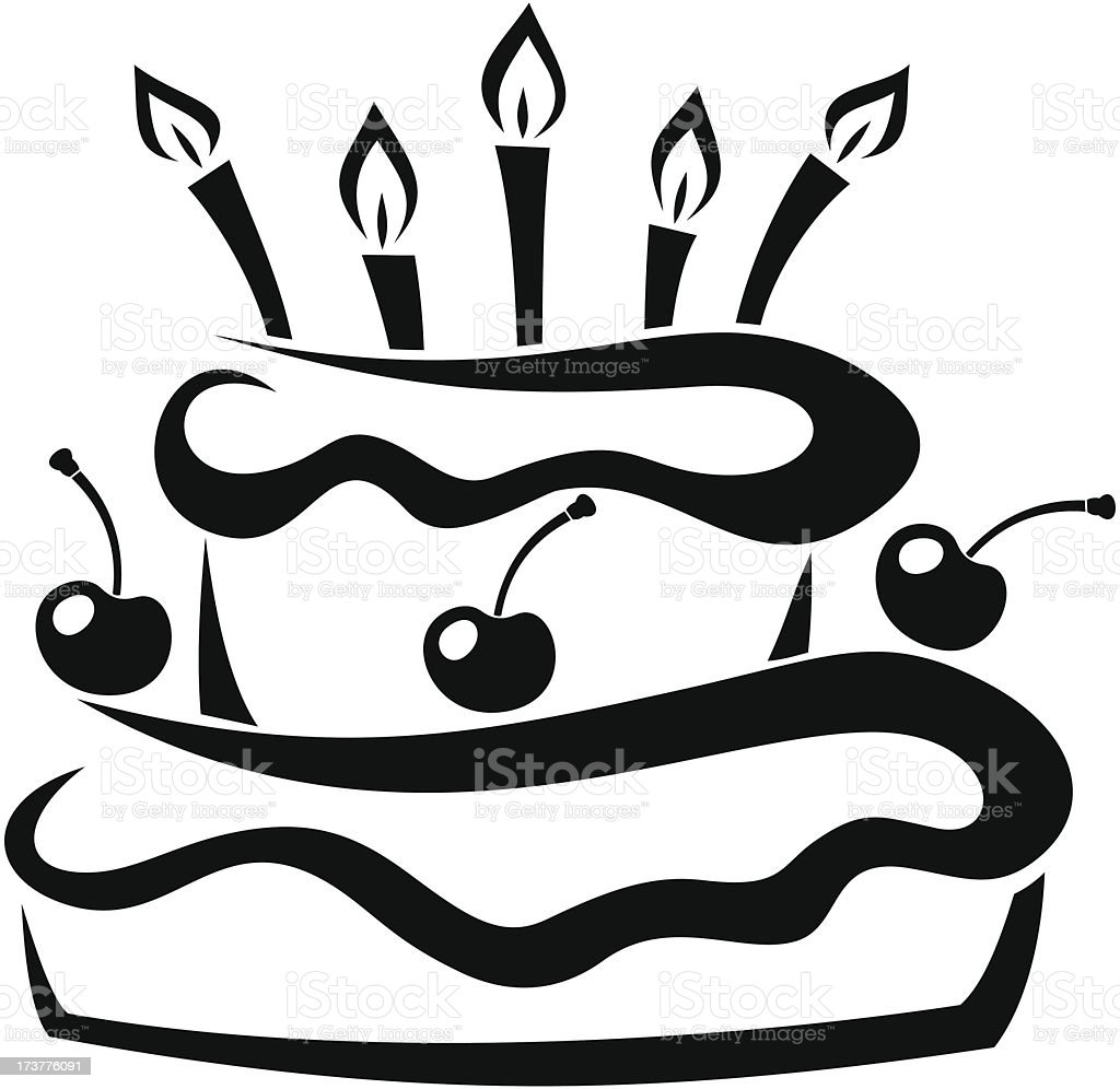 Black silhouette of birthday cake. Vector illustration. royalty-free black silhouette of birthday cake vector illustration stock vector art & more images of anniversary