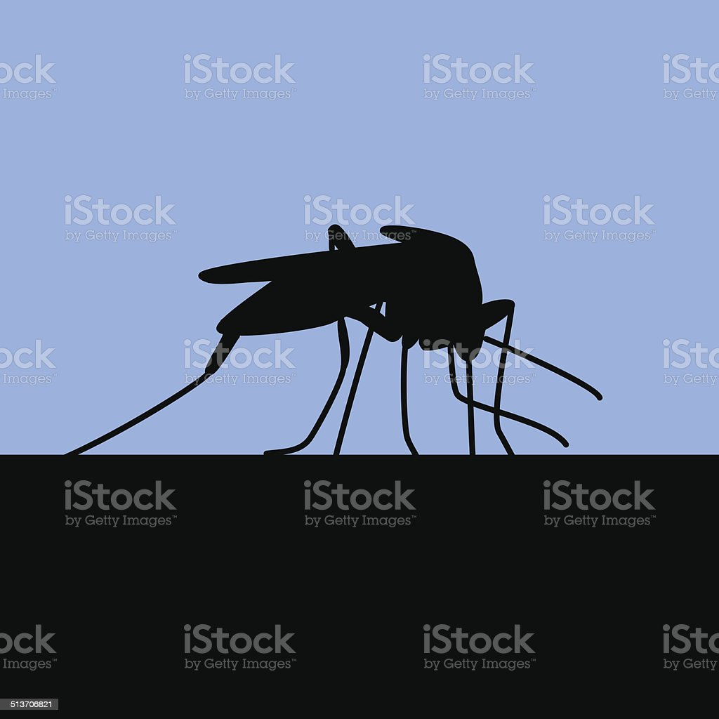 black silhouette of biting mosquito Blue background with black silhouette of biting mosquito Abstract stock vector