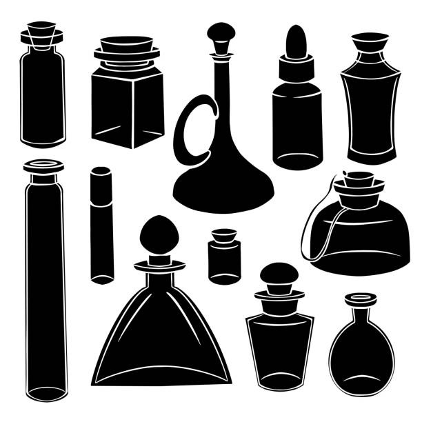 Black silhouette of bottles, flasks and jars. Containers for perfumes and medicines. Natural medicine. Potions and Alchemy. Vector object Black silhouette of bottles, flasks and jars. Containers for perfumes and medicines. Natural medicine. Potions and Alchemy. Vector object for recipes, banners and your design. drawing of a glass liquor flask stock illustrations