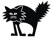 Scary cat, black silhouette, funny vector illustration. Crazy kitty on white background.
