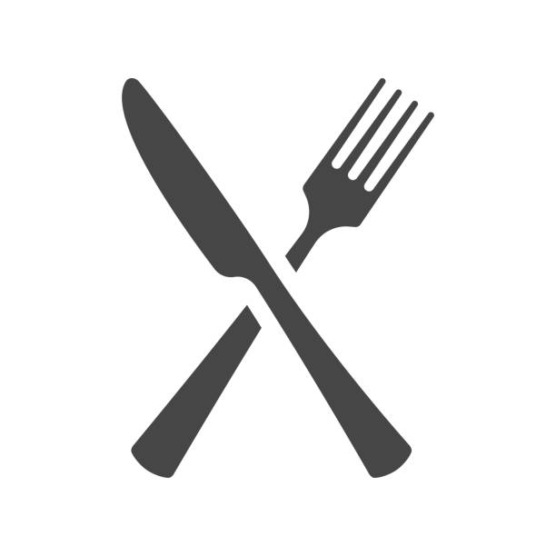 illustrazioni stock, clip art, cartoni animati e icone di tendenza di black silhouette of crossed fork and knife icon vector isolated. - coltello posate