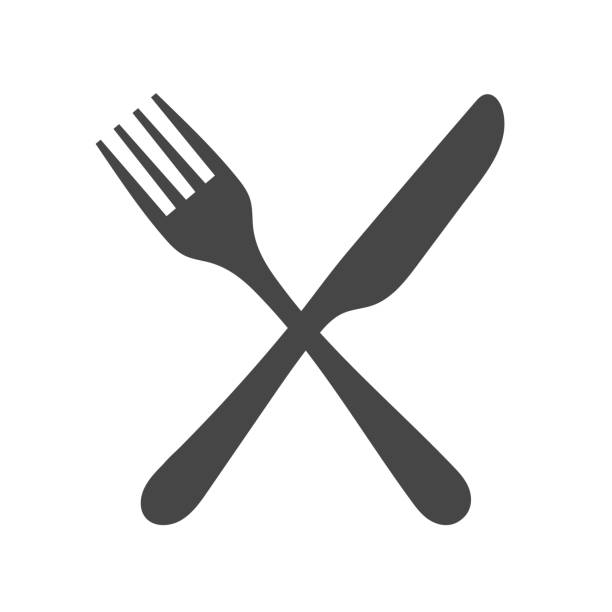 Black silhouette of crossed fork and knife icon vector isolated. Black silhouette of crossed fork and knife icon vector isolated. utility knife stock illustrations