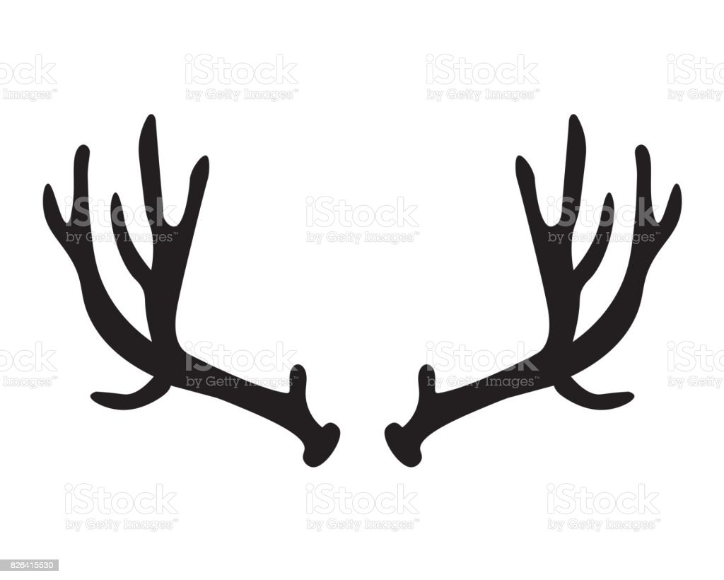 black silhouette of deer antlers stock vector art more images of rh istockphoto com deer antler vector art deer antler vector clipart