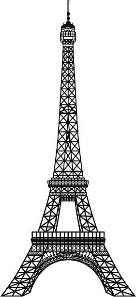 Black silhouette of Eiffel Tower Eiffel Tower Black Silhouette Vector Illustration eiffel tower stock illustrations
