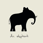 black silhouette of elephant